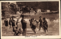 Cp Levanto Liguria, Mareggiata, Badegäste Am Strand, Brandung - Italia