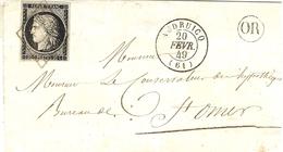 1849- Enveloppe  D'AUDRUICQ ( Pas De Calais ) Cad T15 Affr. N°3 A Noir Sur Blanc   ( 4 Marges ) Oblit. Grille - 1849-1876: Période Classique