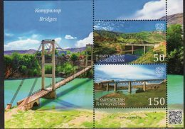 KYRGYZSTAN, 2018, MNH, EXPRESS POST, BRIDGES, TRAINS, MOUNTAINS,  SHEETLET - Bridges