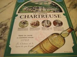 ANCIENNE PUBLICITE GRANDE CHARTREUSE VERTE OU JAUNE  1952 - Publicités