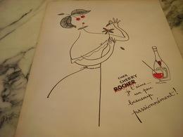 ANCIENNE PUBLICITE  UN PEU BEAUCOUP CHERRY ROCHER DIGESTIF 1954 - Alcools