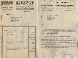 VP13.943 - Lot De Documents - Fabrique De Matériel Pour La Boucherie , La Charcuterie TRUSSANT & Cie à SAINTE - LIVRADE - Alimentaire