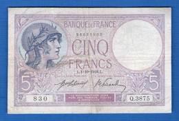 5 Fr  Du  1/10/1918 - 1871-1952 Anciens Francs Circulés Au XXème
