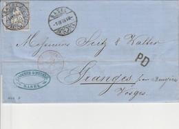 SUISSE AMB. STRASBOURG F En Rouge Du 2 SEPTEMBRE 1869,  Entrée Par Courrier -convoyeurs-ambulants   Réf.Noël - Marques D'entrées