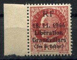 RC 10967 FRANCHE LIBÉRATION PETAIN SURCHARGE GRANDVILLARS TERRITOIRE DE BELFORT NEUF ** TB - Libération