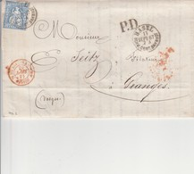 SUISSE AMB. STRASBOURG C En Rouge Du 4 Septembre 1867,  Entrée Par Courrier -convoyeurs-ambulants   Réf.Noël - Marcophilie