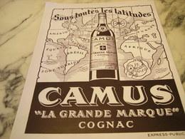 ANCIENNE PUBLICITE SOUS TOUTE LES LATITUDES COGNAC CAMUS  1946 - Alcohols