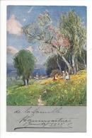 21251 - Belle Carte Paysage Et Arbre En Fleurs Jeunes Filles Dans Le Champ Cachet La Praz 1905 - Femmes