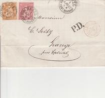 SUISSE AMB. STRASBOURG  En Rouge Du 2 Juin 1867,  Entrée Par Courrier -convoyeurs-ambulants   Réf Noël - Marques D'entrées