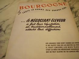 ANCIENNE PUBLICITE VIN BOURGOGNE 1952 - Affiches