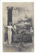 21253 - Femme Et Enfants Sur Balançoire Carte Avec Lettre L Vers 1905 - Femmes