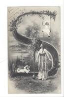 21257 - Femme Et Enfants Sur Balançoire  Carte Avec Lettre S Vers 1905 - Femmes