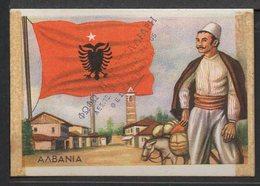 """(Μ-035) ALBANIA Costumes And Flags Of The World - Old 60's Original Greek Card Of """"Bil I Bo"""" Mastic - Old Paper"""