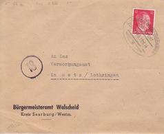 Lettre De Walscheid Obl. Ambulant (T369 Saarburg-Dreibrunnen A Zug 2386) Sur TP Reich 12pf Le 15/6/44 Pour Metz - Alsace-Lorraine