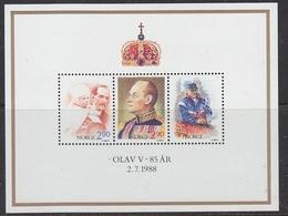 Norway 1988 Birthday King Olav (85Y) M/s ** Mnh (41605A) - Blokken & Velletjes