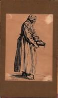 Gravure Ancienne Jacques Callot In El Fc  Et Fe? Vieille Femme Mendiante - Estampas & Grabados