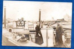 Carte Photo  - Péniche Avec Famille De Bateliers - Houseboats