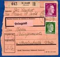 Colis Postal -  Départ St Avold - 13/3/1943  -abimé - Allemagne