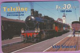 Télécarte Prépayée °° Suisse-Téléline-150 Units-Fr.30-1997-train Loco Vapeur- RV - Schweiz