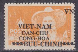 Viêt-Nam Du Nord N° 5 XX Timbres D'Indochine Surchargés : 4 C. Jaune-orange Sans Charnière, Dent. Habituelle  Sinon TB - Vietnam