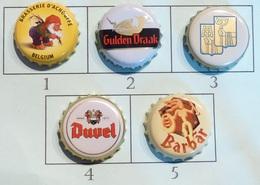 Lot N° 18-2 : 5 Capsules De Bière (parfait état - Pas De Trace De Décapsuleur) Beer - Cerveza - Birra - Bière
