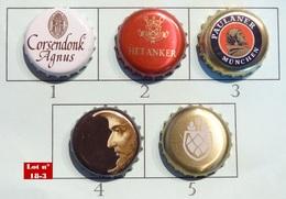Lot N° 18-3 : 5 Capsules De Bière (parfait état - Pas De Trace De Décapsuleur) Beer - Cerveza - Birra - Bière