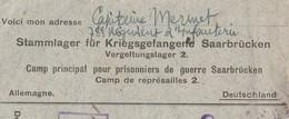 Enveloppe Cachet 1917 Saarbrüchen Allemagne / Censure / PG Camp Prisonniers Guerre / à Charroux 86 Vienne - 1914-18