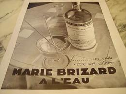 ANCIENNE PUBLICITE MARIE BRIZARD SOIF CALMEE 1930 - Alcohols
