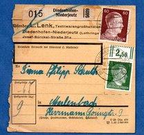 Colis Postal -  Départ Diedenhofen-Niederjeutz ( Thionville ) -  12/5/1943 - Allemagne