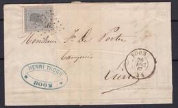 N° 17 / Lettre De BOOM ( LP 46 ) Lac 26 Dec 1867 - 1865-1866 Profil Gauche