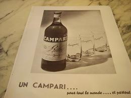 ANCIENNE PUBLICITE POUR TOUT LE MONDE APERITIF CAMPARI 1951 - Alcohols