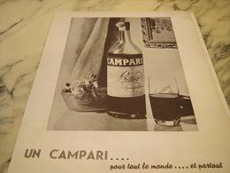 ANCIENNE PUBLICITE POUR TOUT LE MONDE APERITIF CAMPARI 1952 - Alcohols