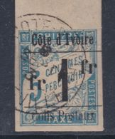 Cote D'Ivoire CP N° 7 O Colis Postaux N° 7 : 1 F. Sur 5 C. Bleu  Oblitération Moyenne Sinon TB - Ivoorkust (1892-1944)