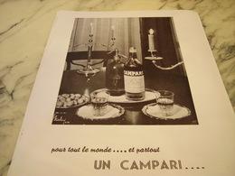 ANCIENNE PUBLICITE LE MONDE L APERITIF CAMPARI 1953 - Alcools
