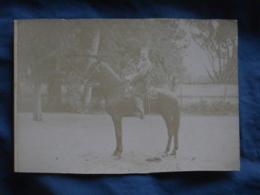 Photo Cabinet Sans Mention De Photographe - Militaire à Cheval, Spahis Insigne Maréchal Ferrant  L403B - Guerre, Militaire
