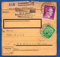 Colis Postal -  Départ Saarbrücken 1  -   Pour Cocheren  - 27/2/1943 - Allemagne