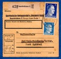 Colis Postal -  Départ Saarbrücken 2  -   Pour Spittel  - 18/9/1943 - Duitsland