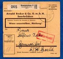 Colis Postal -  Départ Saarbrücken 2  -   Pour Genweiller -  18/11/1943 - Allemagne
