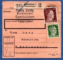 Colis Postal -  Départ Saarbrücken 1  -    31/8/1943 - Allemagne