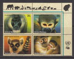 2007 UN New York Endangered Animals  Monkey, Lemur, Mangebey, Drill Block Of 4  MNH - New York – UN Headquarters