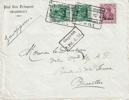 """T.P. OC 27 (paire) + OC 34 SL. """"Paul Van TRIMPONT - GRAMMONT"""" Du 18-6-17 à BRUXELLES + Censure G. 34 - [OC26/37] Terr. Etapes"""