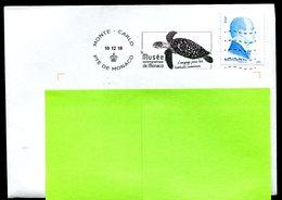 Tortue Marine Sea Turtle Musée Océanographique 2018 Flamme Sur Lettre Postmark On Cover Monaco - Tortues