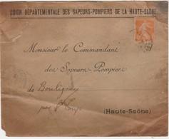 Enveloppe 1926 / Union Sapeurs Pompiers Haute-Saône / à Pompiers Bouligney 70 - Cartes