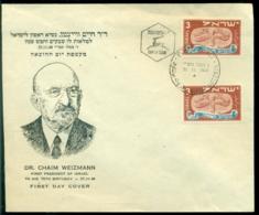Israel 1949 FDC Chaim Weitzmann With Scott # 10 (2) - FDC