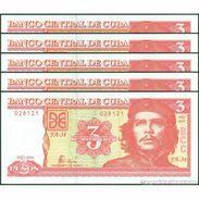 TWN - CUBA 127a - 3 Pesos 2004 DEALERS LOT X 5 - FA-34 UNC - Cuba