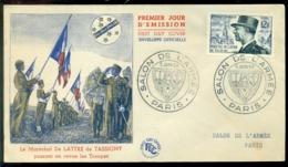 France 1954 FDC Salon De L'Armée Le Maréchal De Lattre De Tassigny - 1950-1959