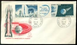 France 1965 FDC Lancement Du Premier Satellite Francais - 1960-1969
