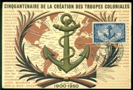 France 1951 Carte Maximum Cinquantenaire Des Troupes Coloniale - Maximum Cards