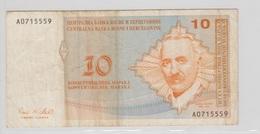 BOSNIE HERZEGOVINE 10 Marka 1998 P64a VF- - Bosnia Y Herzegovina