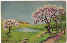Carte Exposition Salon Peinture Tableau Art : Illustrateur Non Signé - Paysage Arbre Fleuri Etang - Schilderijen